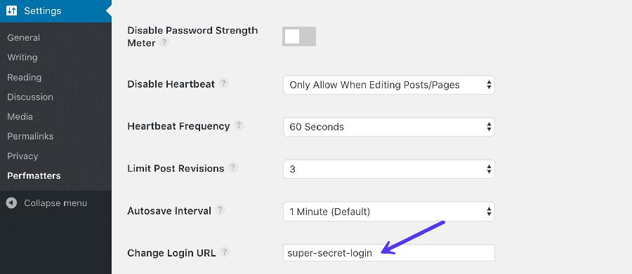 Change WordPress login URL in Perfmatters