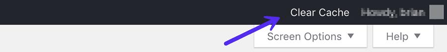 Clear cache WordPress admin toolbar