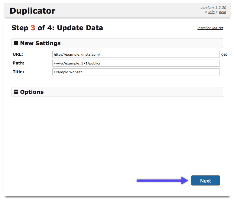 WordPress Duplicator plugin: update data