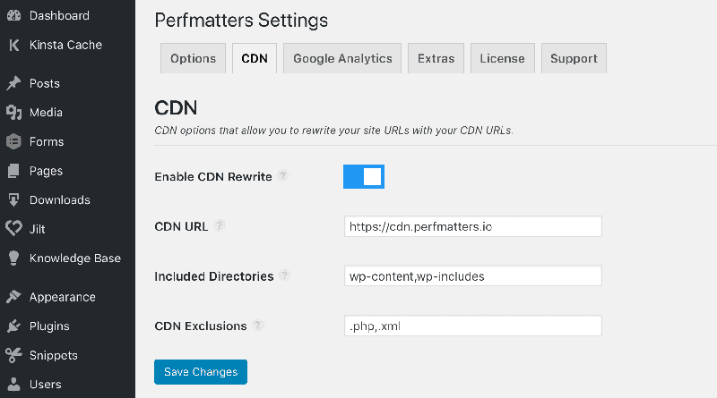 Enable CDN in WordPress with Perfmatters
