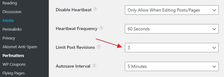 Limit post revisions with Perfmatters plugin